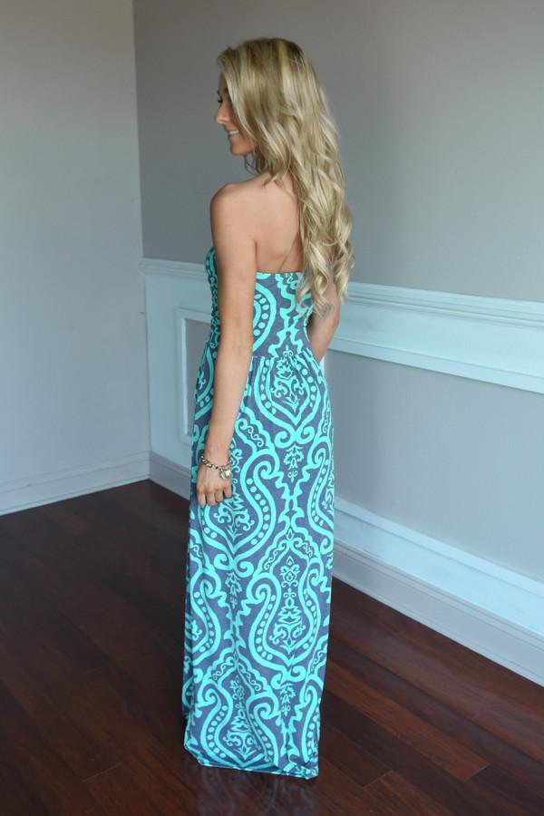 Mint & Gray Damask Maxi Dress with Pockets