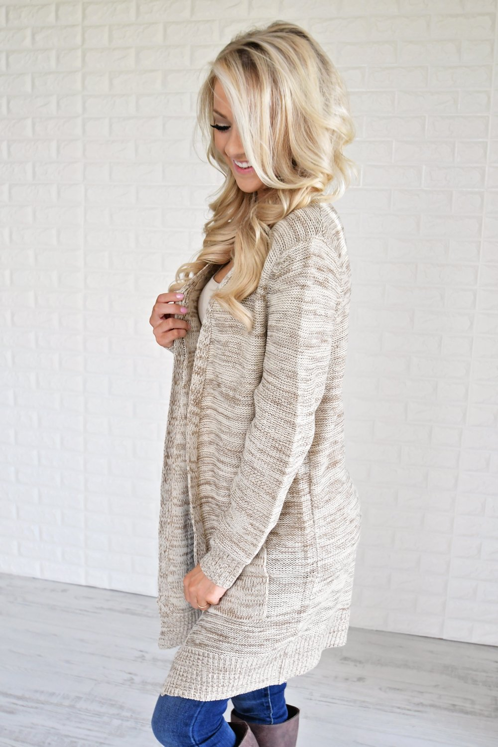 Knit Cardigan ~ Cream & Mocha
