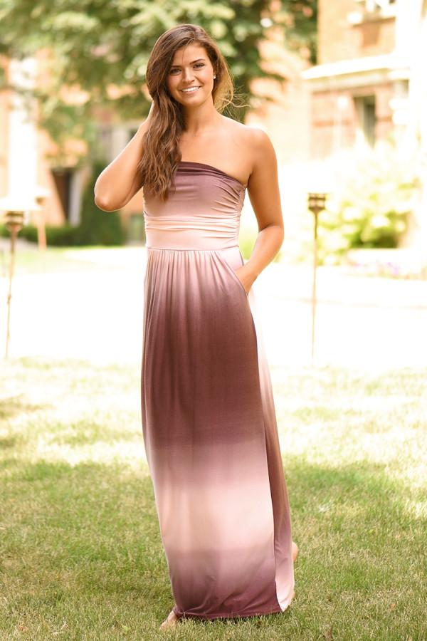 Strapless Ombre Maxi Dress - Mauve
