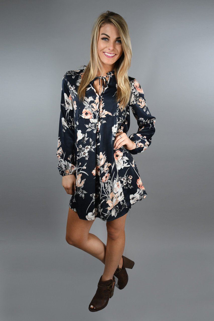 Navy and Light Coral Floral Dress