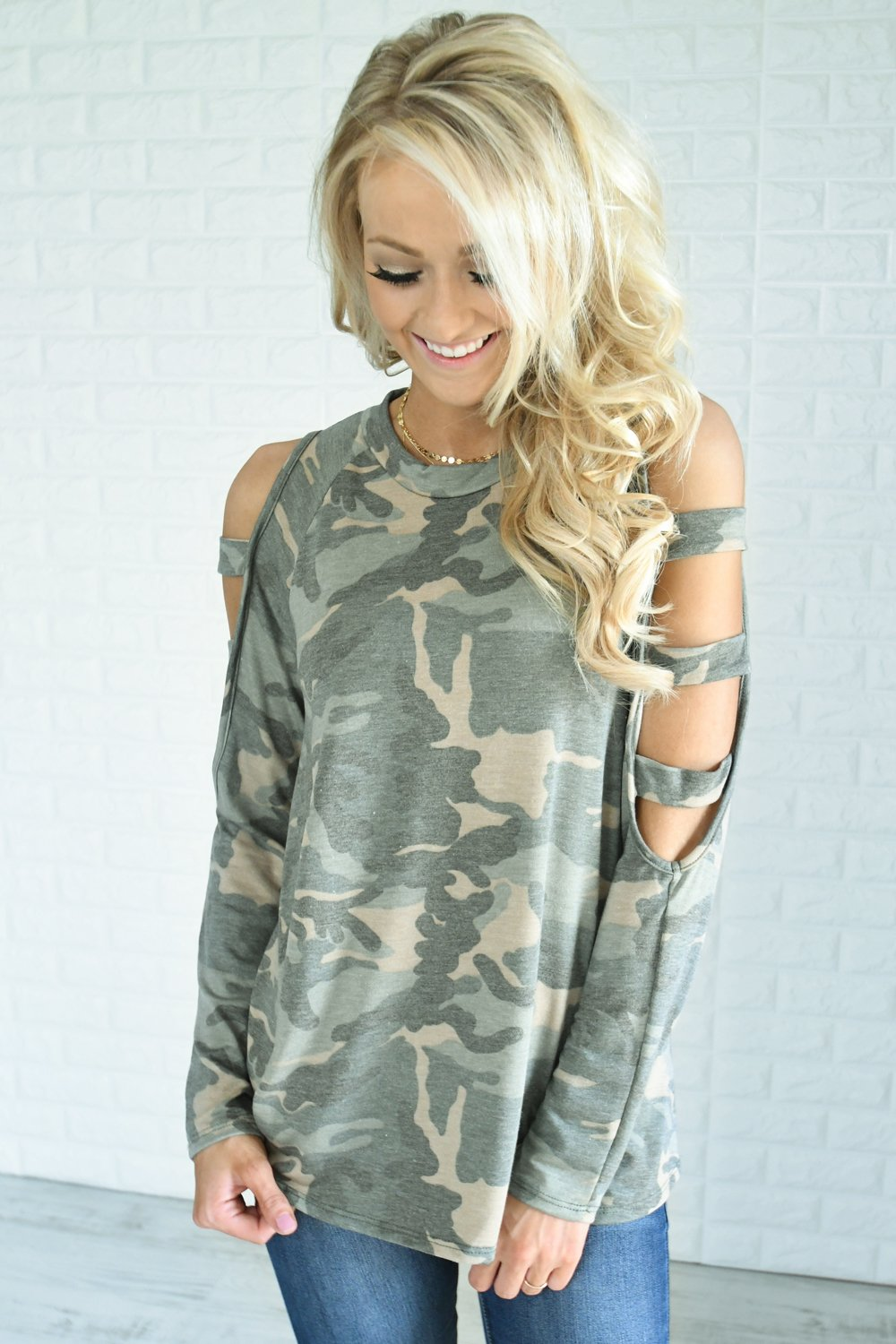 Camo Cold Shoulder Top