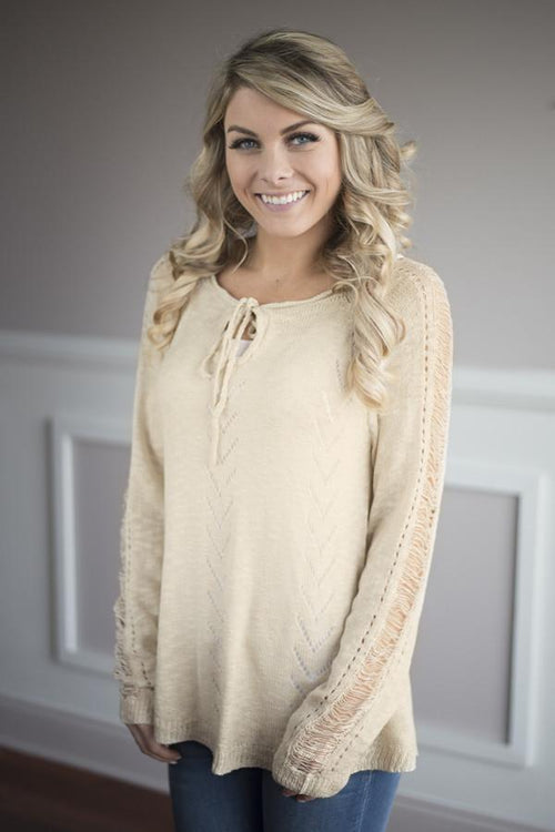 Just for Looks Taupe Sweater Top