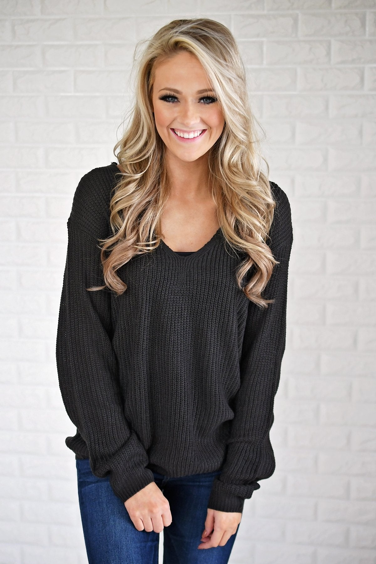 Deep Charcoal Knit Back Lace Sweater