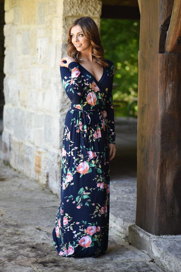 Floral Sensation Maxi Dress - Navy