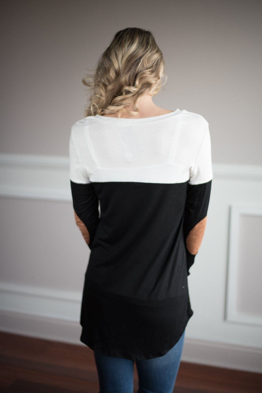 Cream and Black Pocket Top