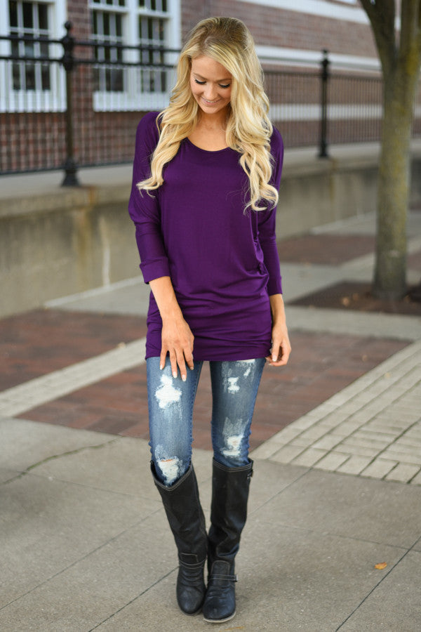 Essential Dolman Top - Purple