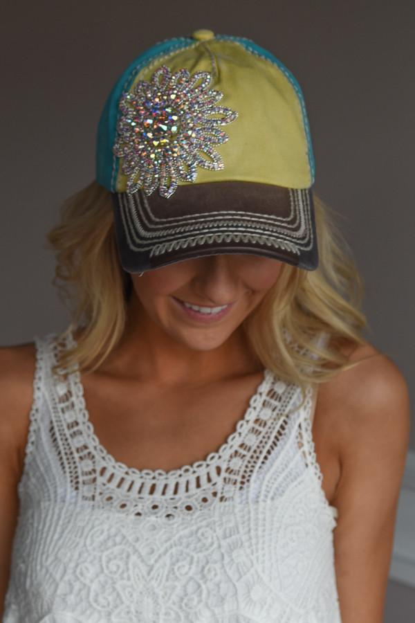 Glam Yellow & Brown Baseball Cap