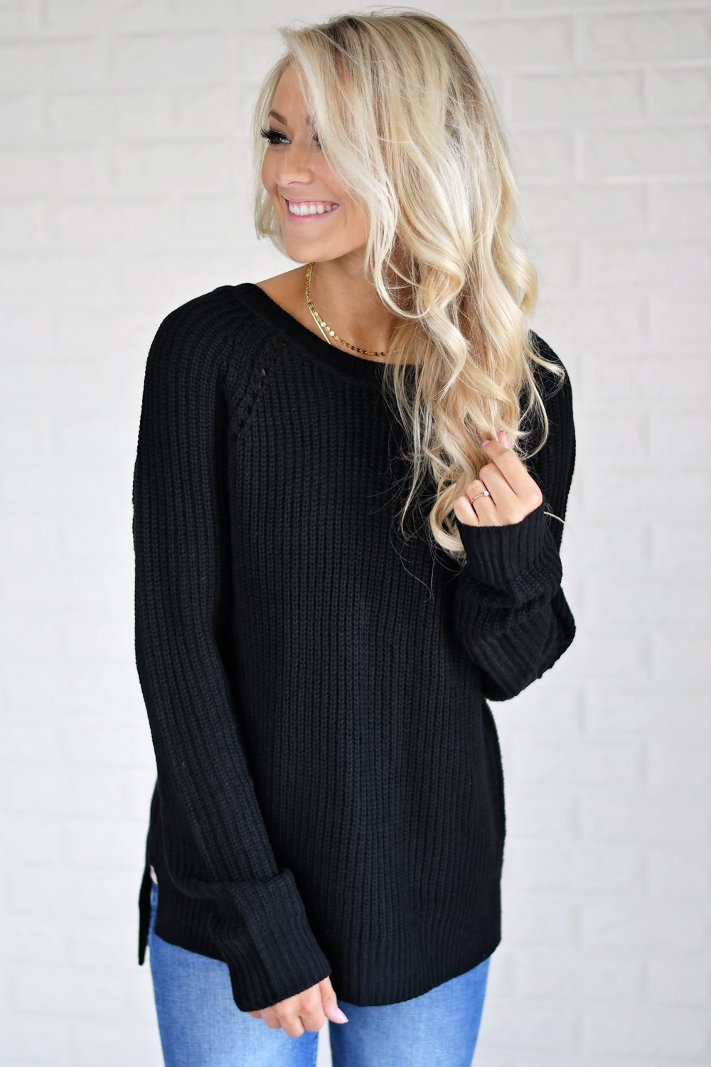 Knit Back Lace Up Top ~ Black