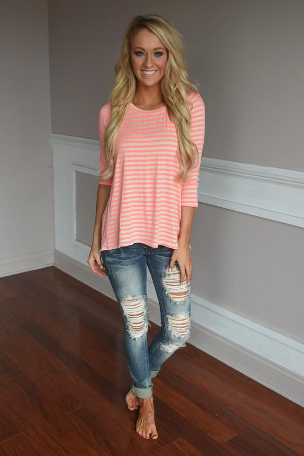 Neon Lights Top ~ Coral