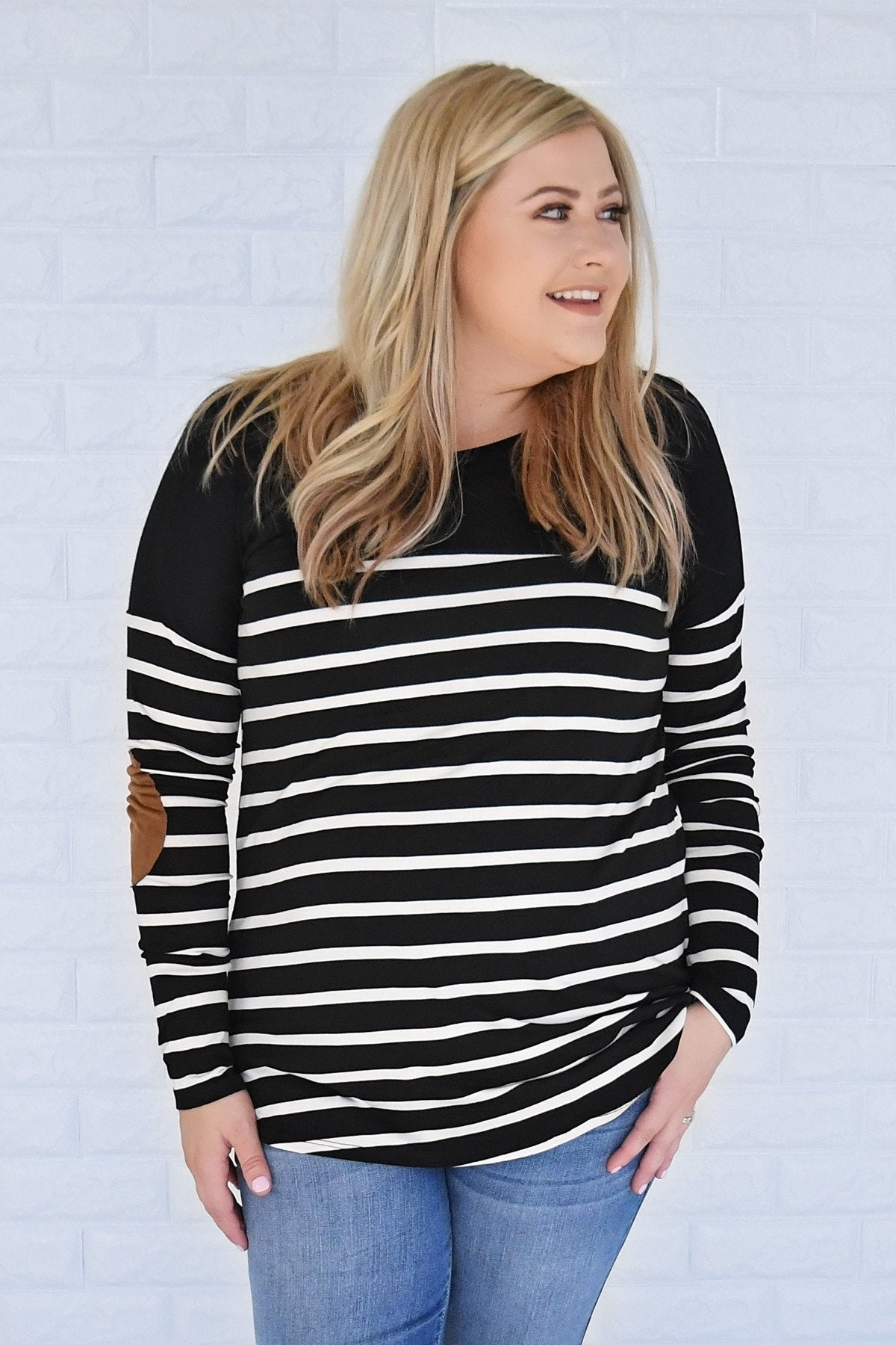 Long Sleeve Striped Black Top *2nds*