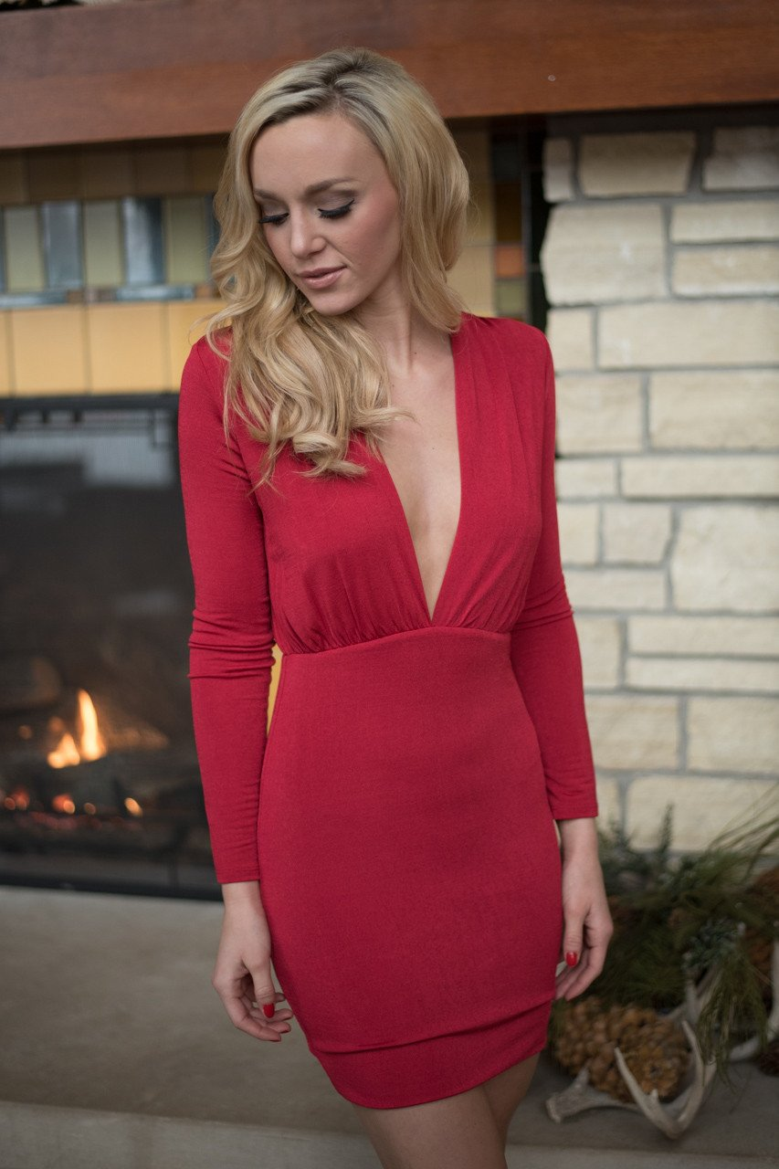 Sassy in Red Long Sleeve Dress