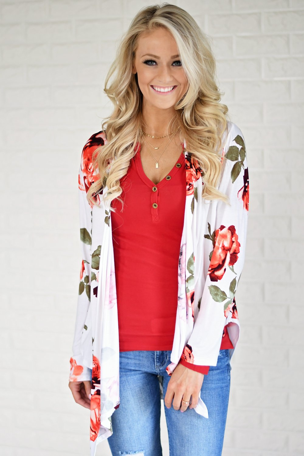 Bold Ivory Floral Cardigan