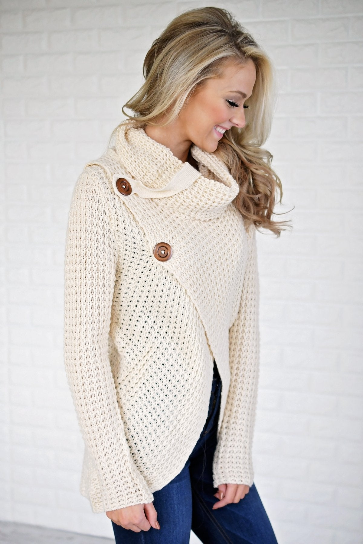 Give Me a Reason Cream Button Sweater