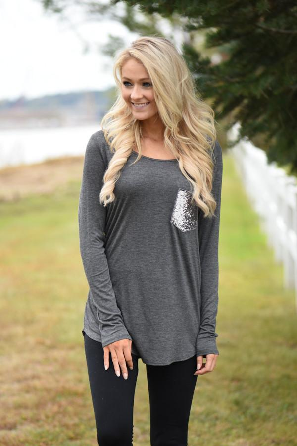 Sparkle Pocket Top - Charcoal