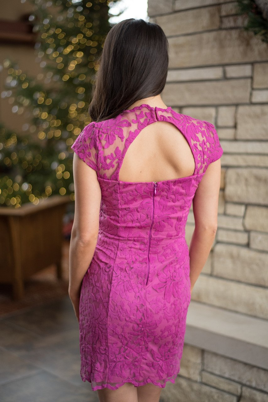 Feisty in Fuchsia Lace Dress