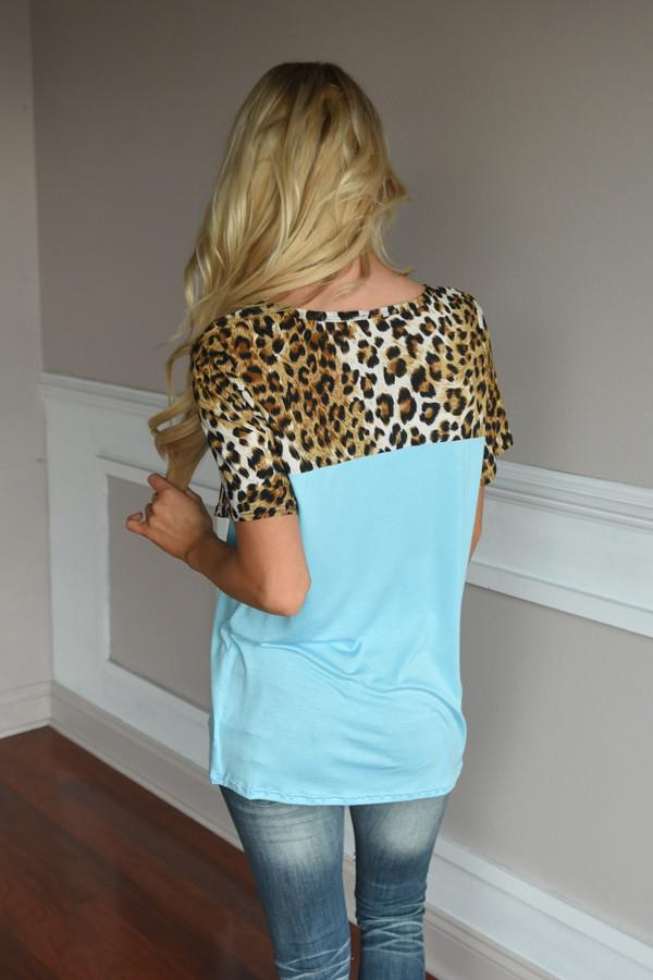 Sky is the Limit Top ~ Blue Leopard