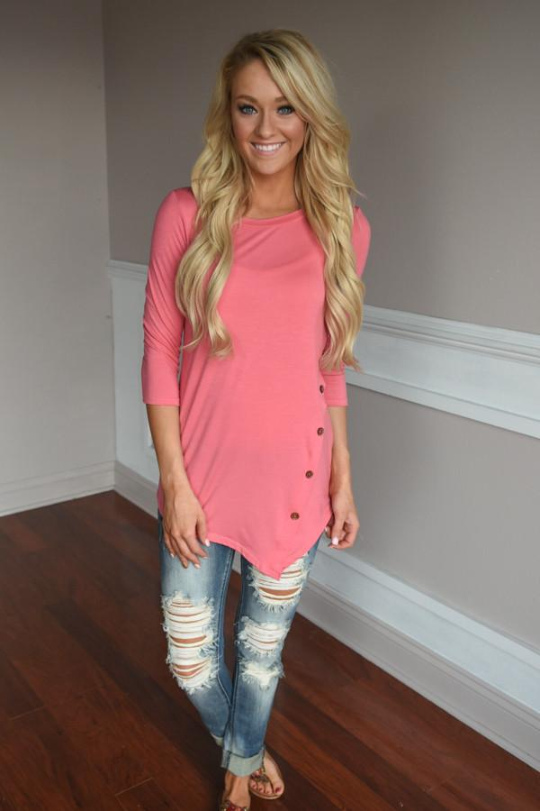 Baby I'm Yours Button Top - Pink
