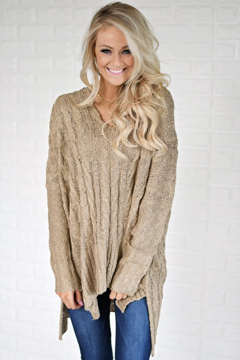 V-Neck Knitted Brown Sweater