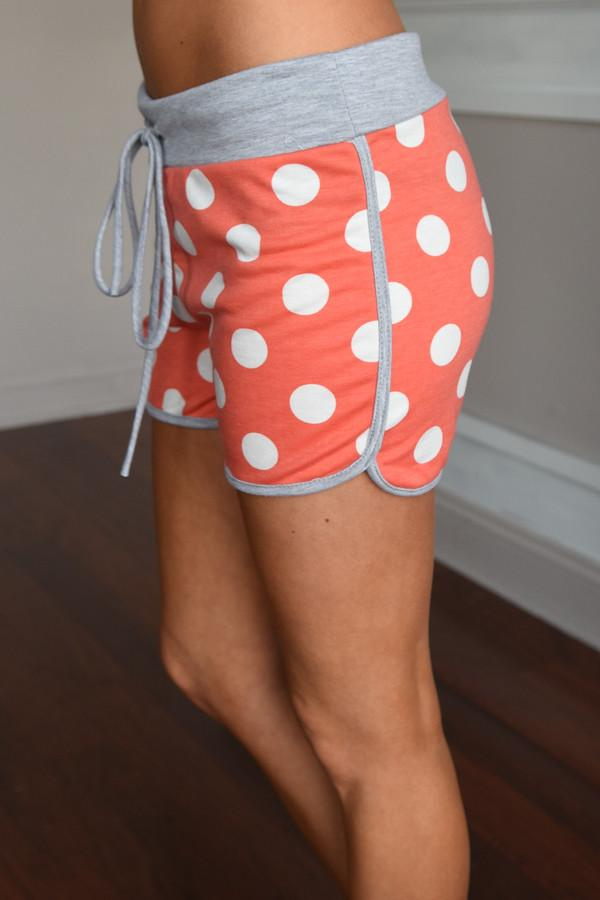 Orange Polka Dot w/Grey Trim Shorts