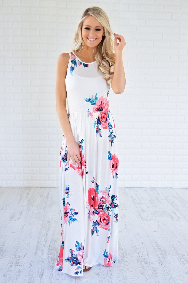 Cherished Love White Floral Maxi Dress