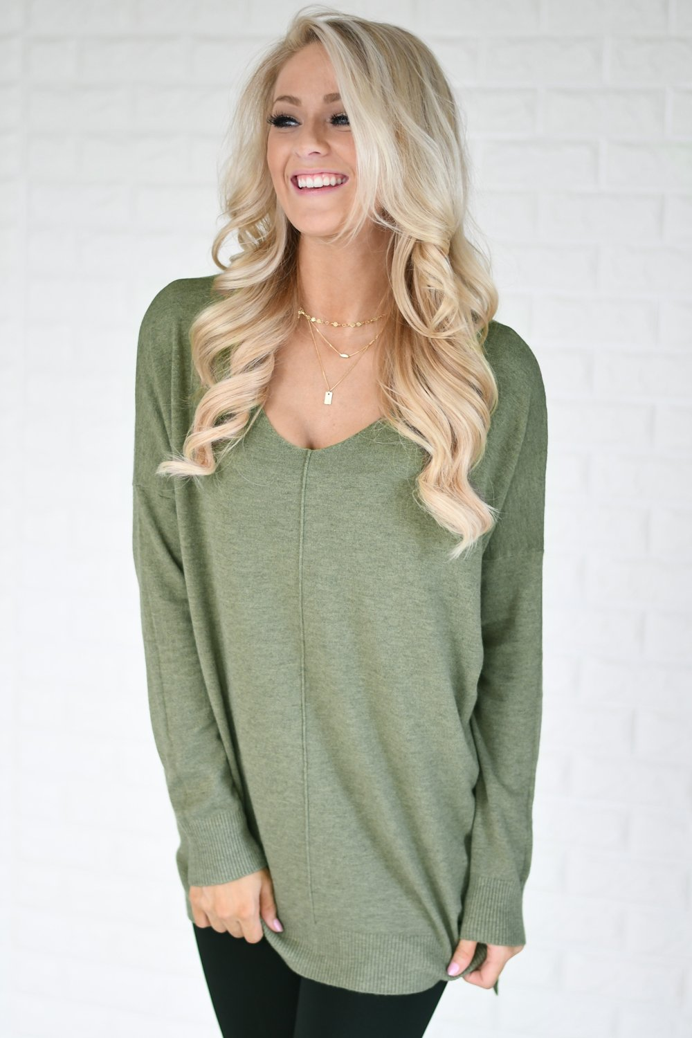 Hold On To Me Sweater ~ Light Olive