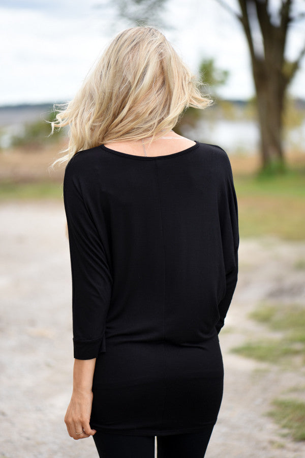 Essential Dolman Top - Black