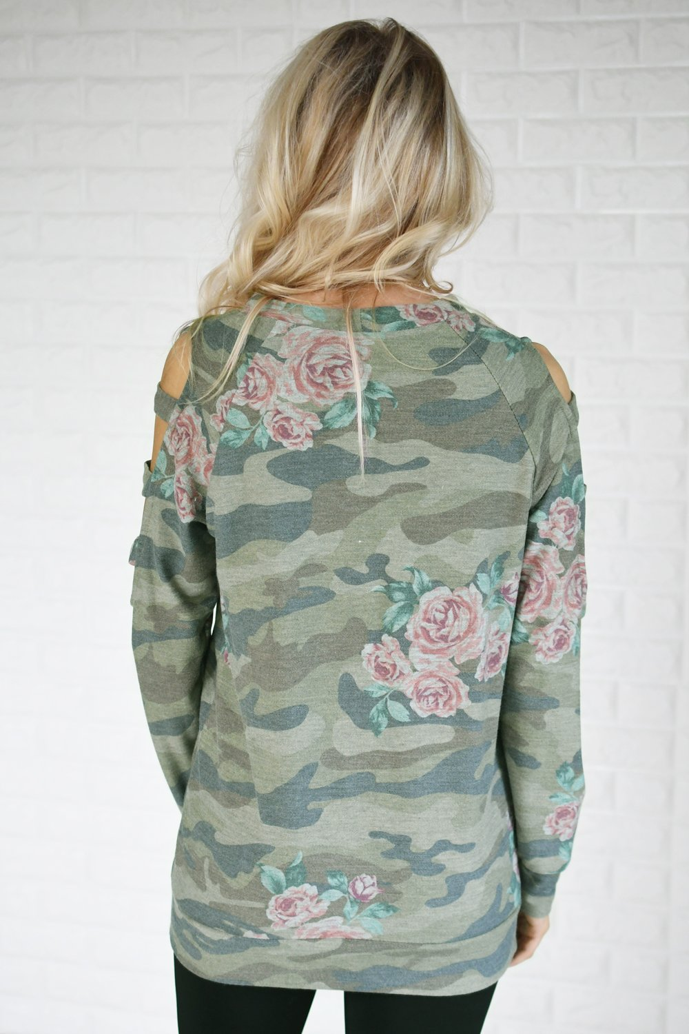 Camo & Floral Cold Shoulder Top