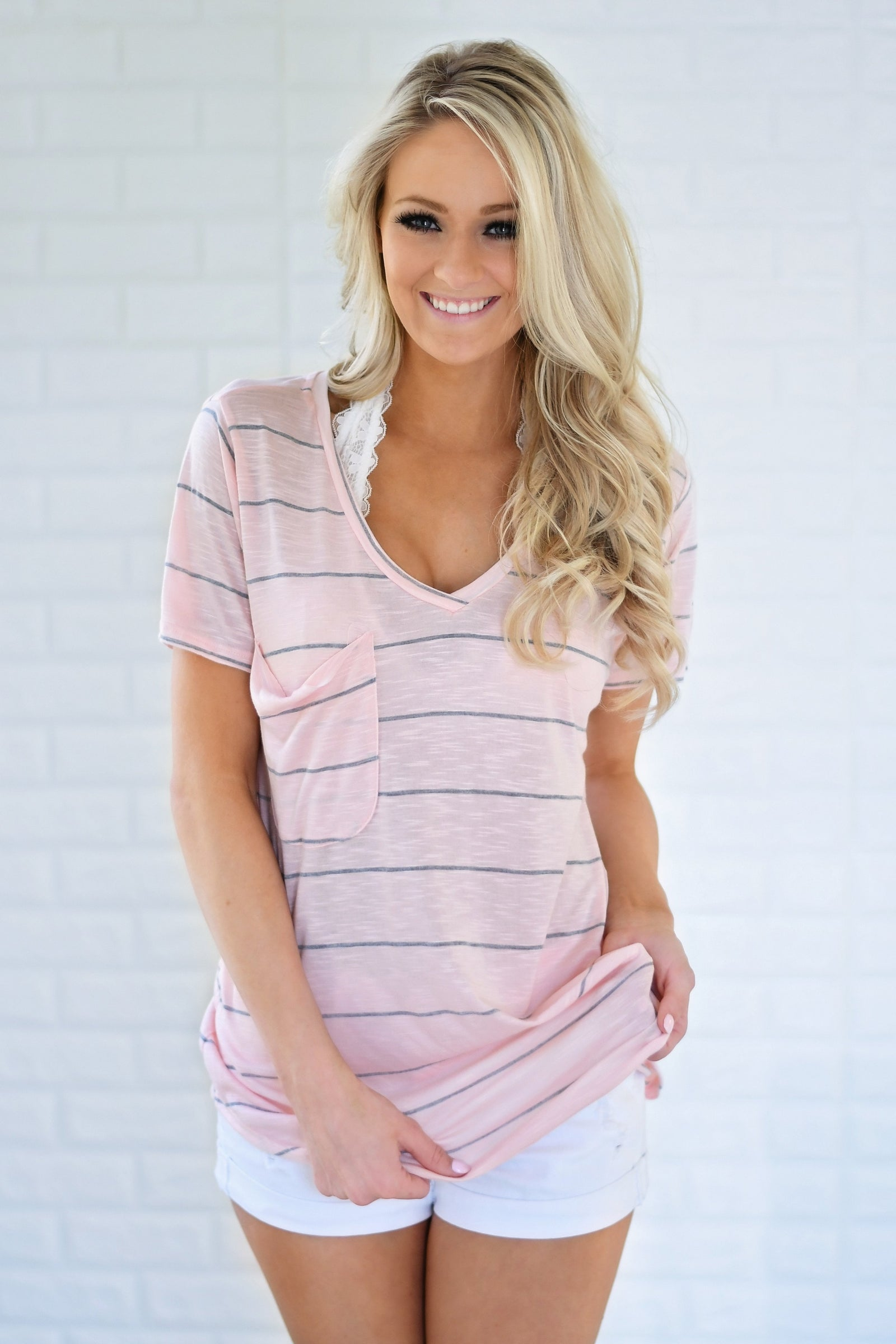 Perfectly Basic Pink Striped Tee