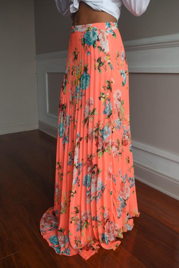 All Mine Coral Maxi Skirt