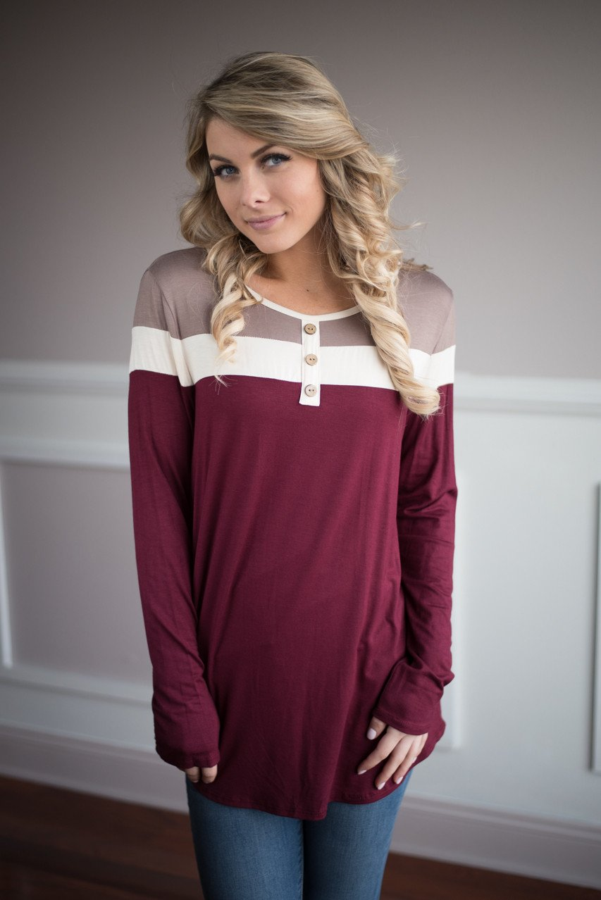 Open Minded Top ~ Burgundy