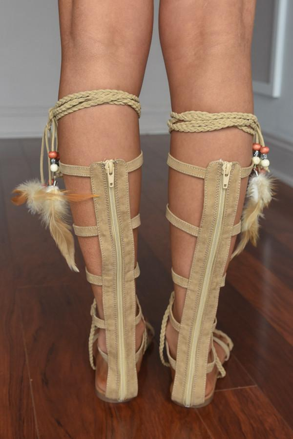 Feathered Gladiator Sandals