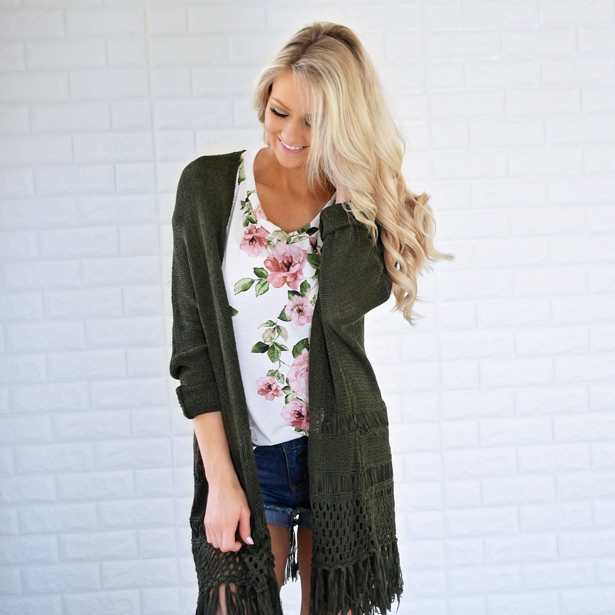 Smell the Roses Evergreen Kimono