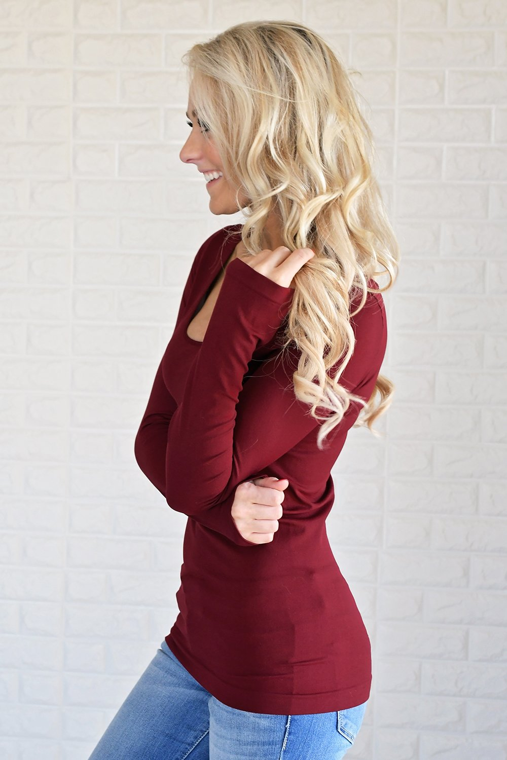 Essential Long Sleeve Seamless Top ~ Deep Red