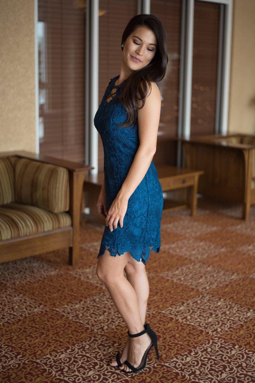 Electric Blue Lace Dress