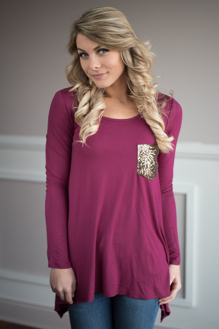Sparkle Pocket Top ~ Raspberry