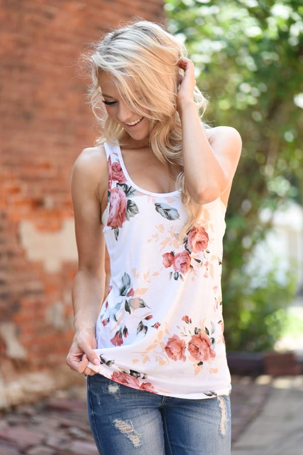 Dusty Coral Floral Tank Top