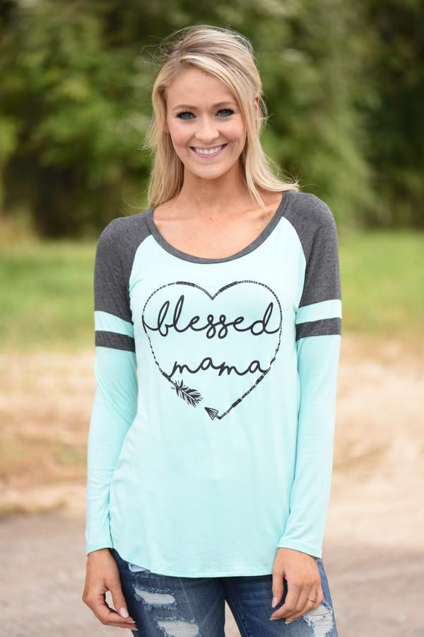 Blessed Mama Tee - Mint