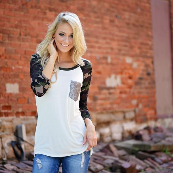 Camo Glam Top ~ Ivory