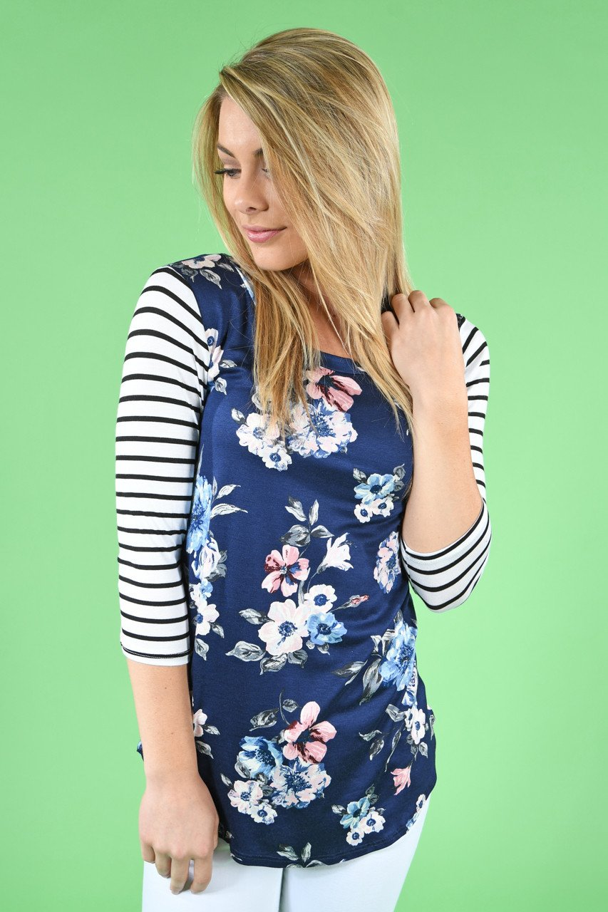 Navy Striped Floral Top