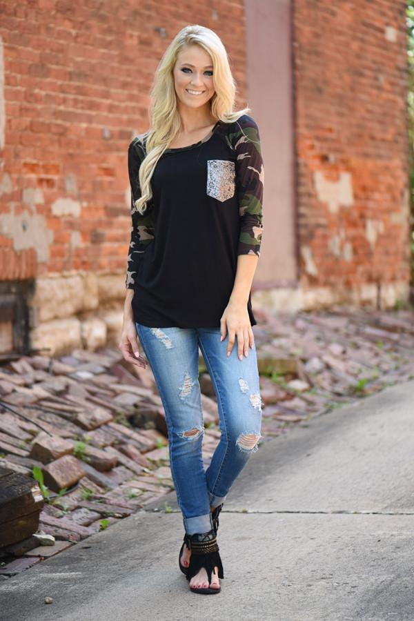 Camo Glam Top ~ Black