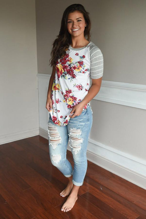 A Little Flirty Floral Top Grey
