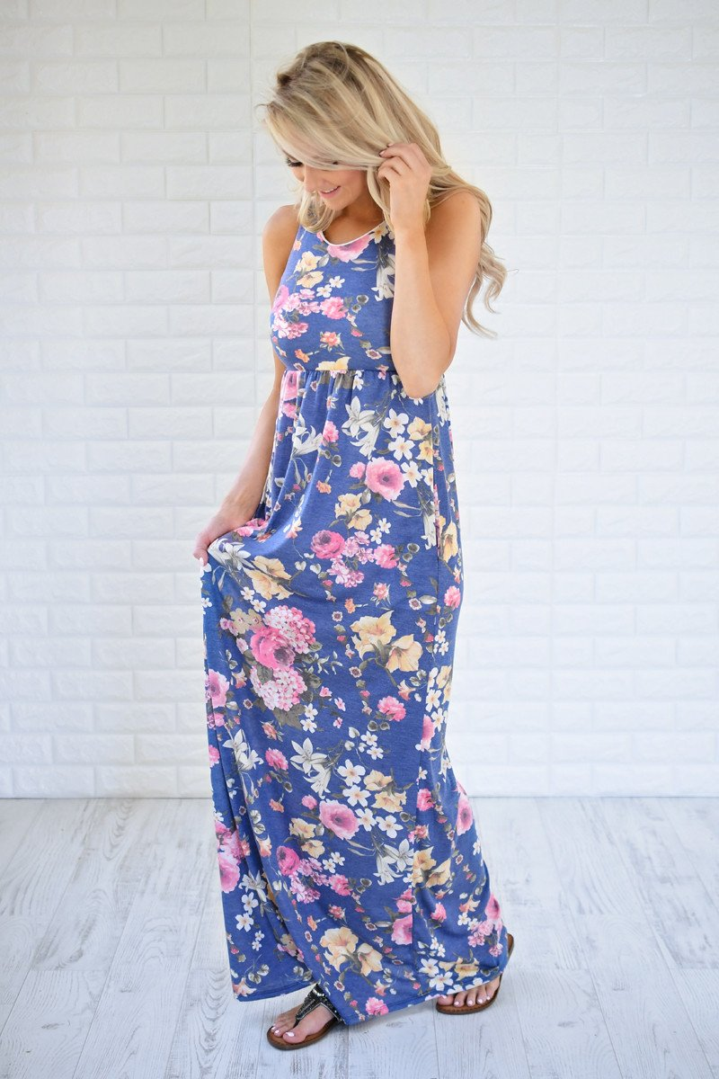 Always Thinking of You Blue Floral Maxi Dress