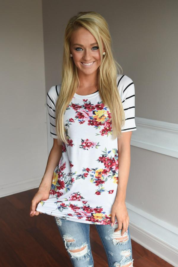 A Little Flirty Floral Top Ivory
