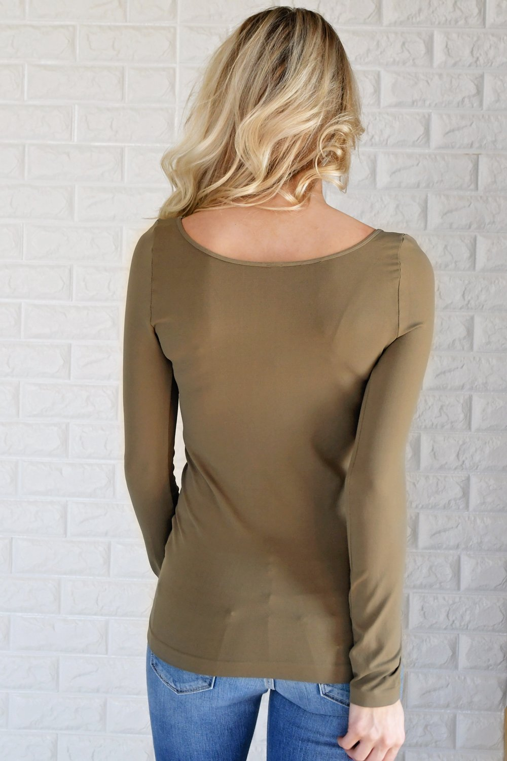Essential Long Sleeve Seamless Top ~ Olive