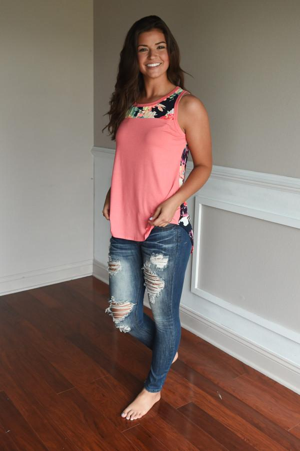 Don't Be Shy Floral Tank Top ~ Coral