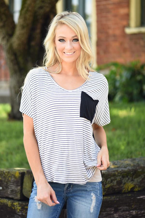 Just Friends Striped Pocket Top