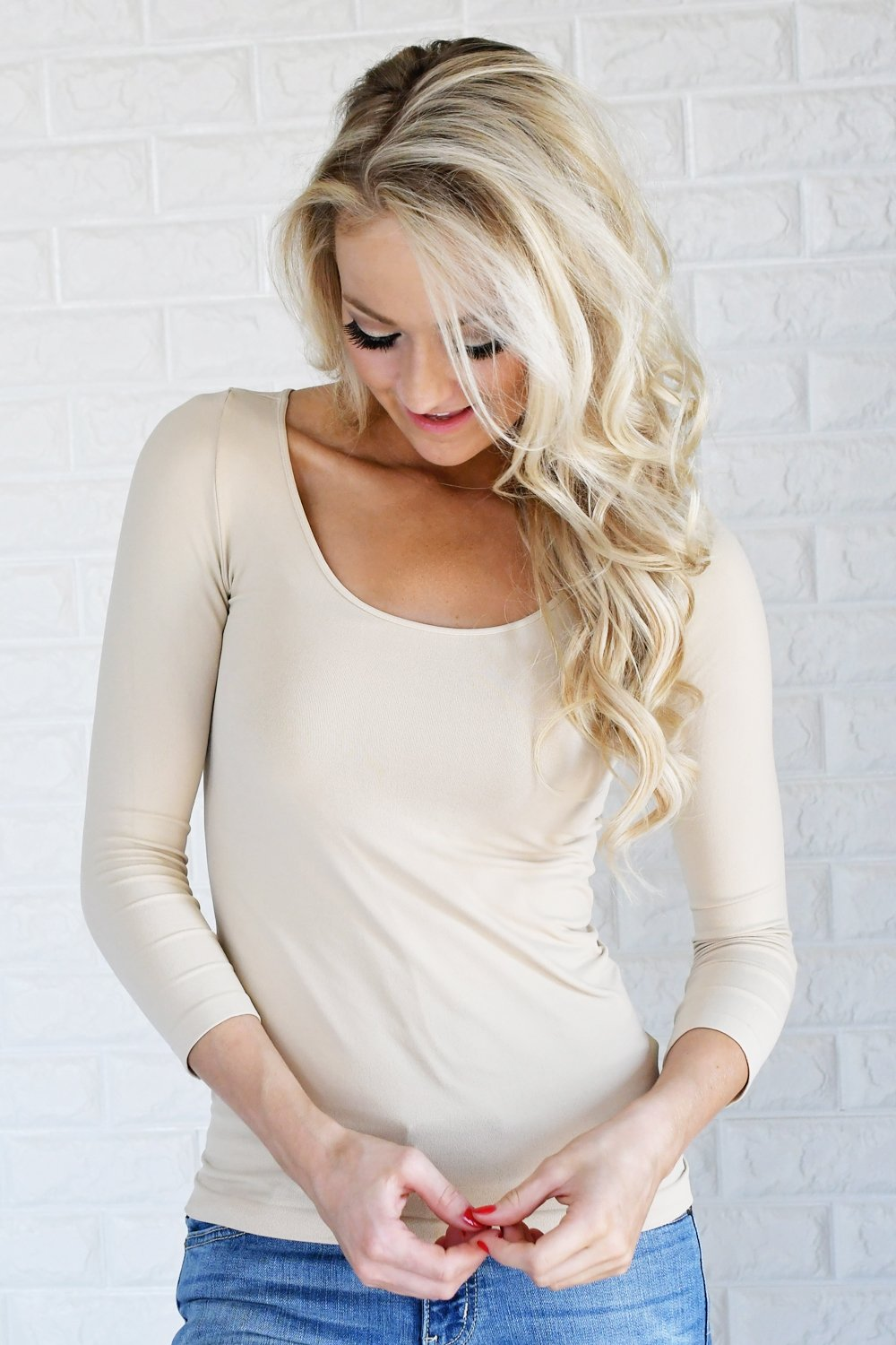 Essential 3/4 Sleeve Seamless Top ~ Nude