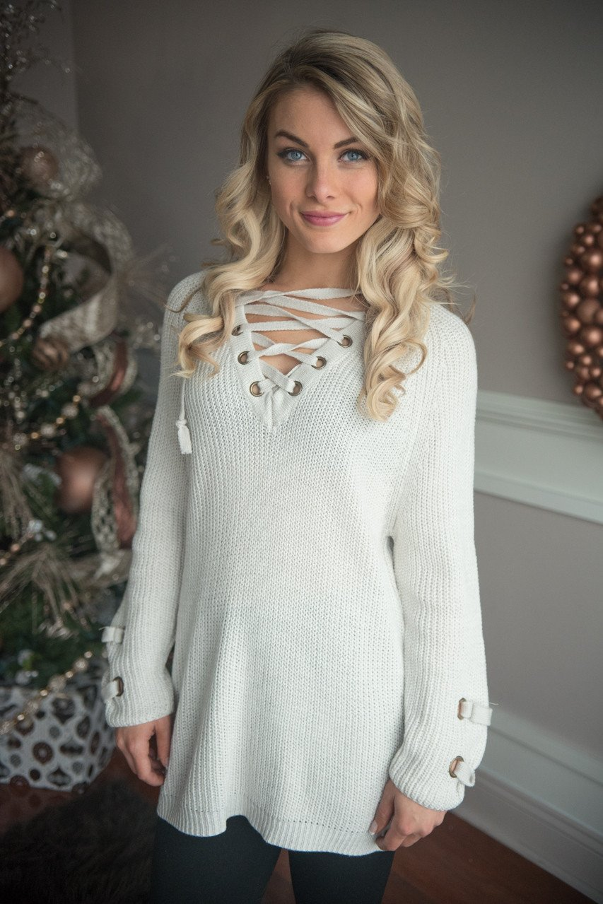 Light Grey Lace Up Sweater