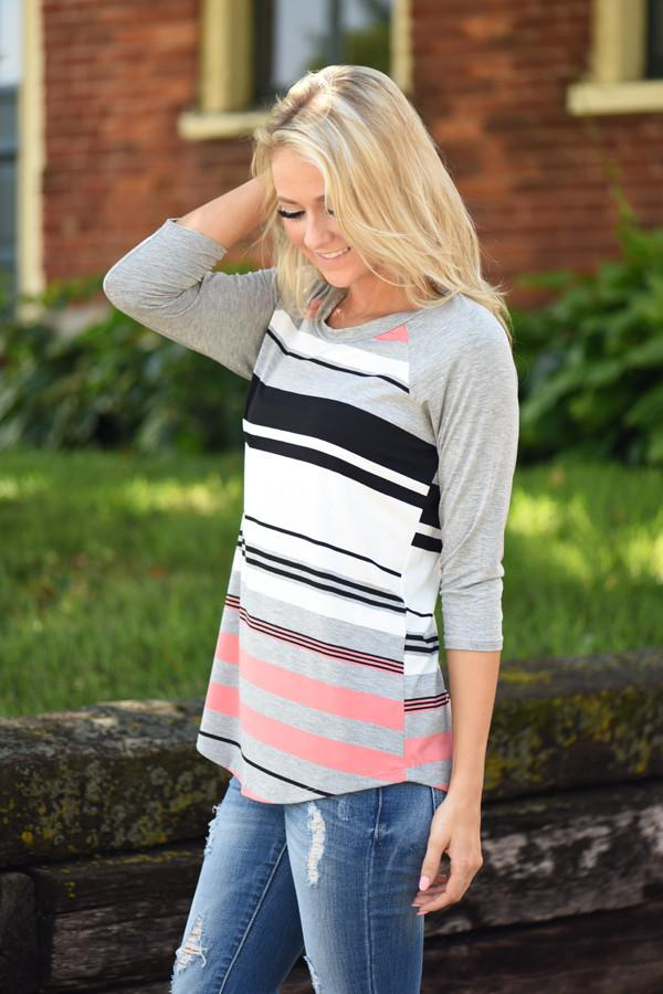 Ready for a Good Time 3/4 Sleeve Top ~ Heather Grey