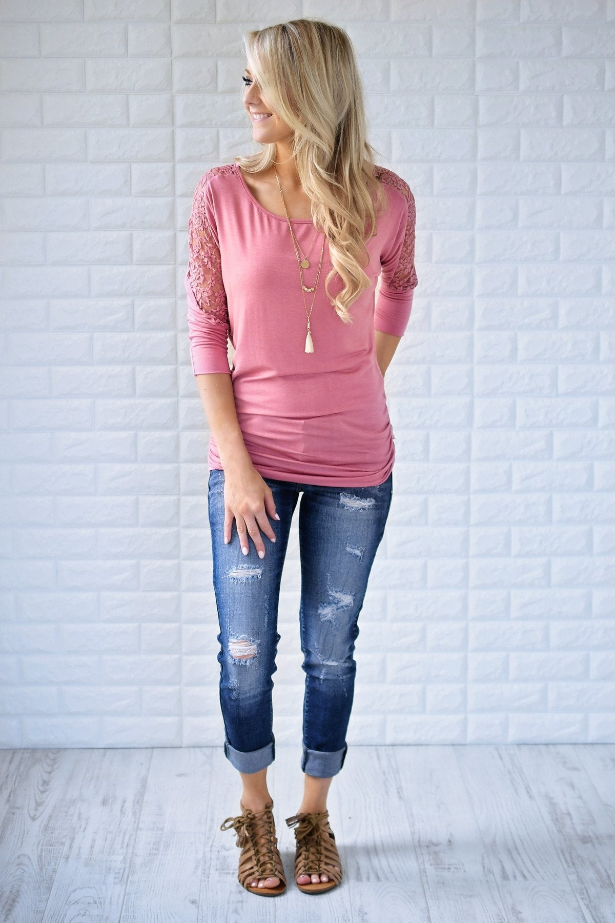 America's Sweetheart Lace Top ~ Pink